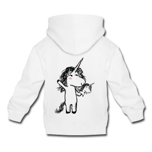 Unicorn with his happy friend - Kids' Premium Hoodie
