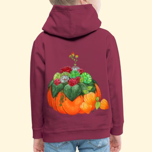 Bouquet d'automne : Succulentes et citrouille - Pull à capuche Premium Enfant