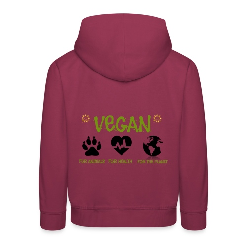 Vegan for animals, health and the environment. - Sudadera con capucha premium niño