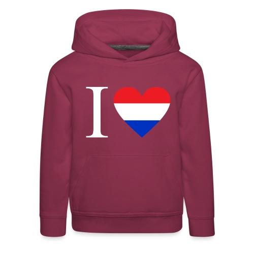 Ik hou van Nederland   Hart met rood wit blauw - Kinderen trui Premium met capuchon