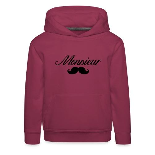 monsieur moustache logo - Pull à capuche Premium Enfant