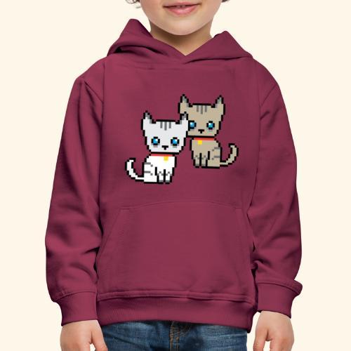deux chats pixel - Pull à capuche Premium Enfant