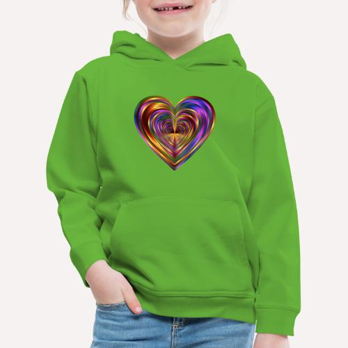 Colorful Love Heart Print T-shirts And Apparel - Kids' Premium Hoodie