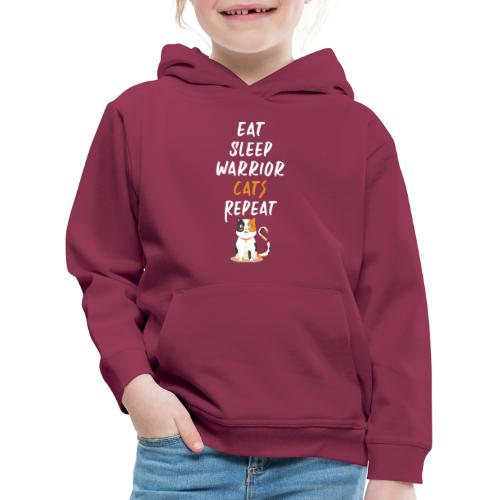 Eat sleep warrior cats repeat - Pull à capuche Premium Enfant