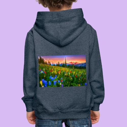 Bagliori in montagna - Felpa con cappuccio Premium per bambini