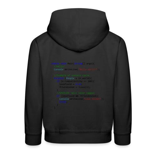 Love seen by a C# programmer - Felpa con cappuccio Premium per bambini