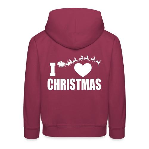 I Love Christmas Heart Natale - Felpa con cappuccio Premium per bambini