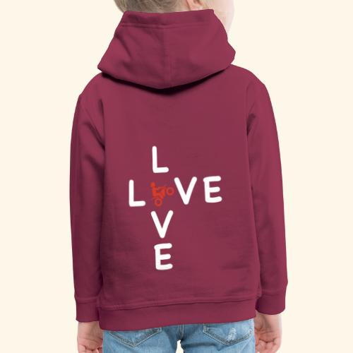 LOVE Cross white wheely red 001 - Kinder Premium Hoodie