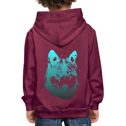 illustration tete de loup - Pull à capuche Premium Enfant