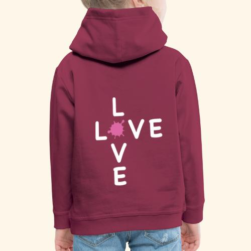 LOVE Cross white klecks pink 001 - Kinder Premium Hoodie