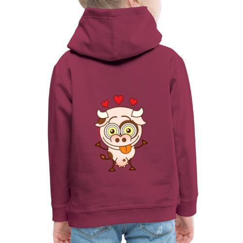 Cute cow falling madly in love - Kids' Premium Hoodie