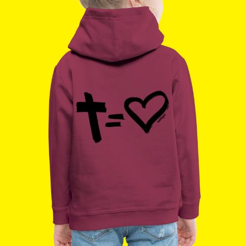 Cross = Heart BLACK - Kids' Premium Hoodie