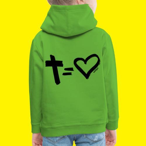 Cross = Heart BLACK - Kids' Premium Hoodie