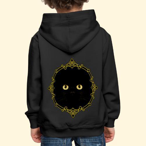 Badge Chat Noir - Pixel Art - Pull à capuche Premium Enfant