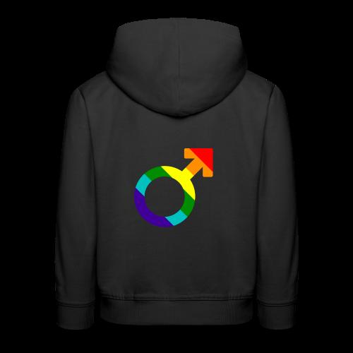 Gay pride regenboog mannen symbool - Kinderen trui Premium met capuchon