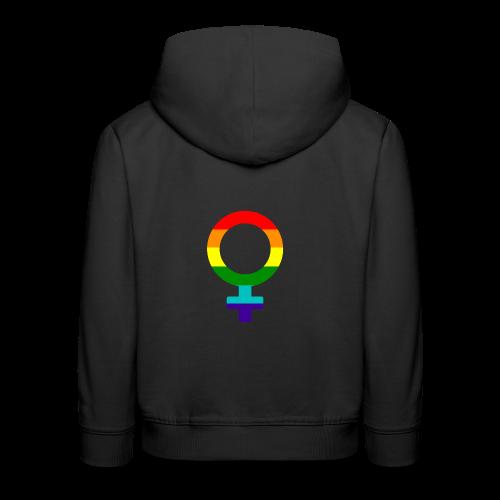 Gay pride regenboog vrouwen symbool - Kinderen trui Premium met capuchon