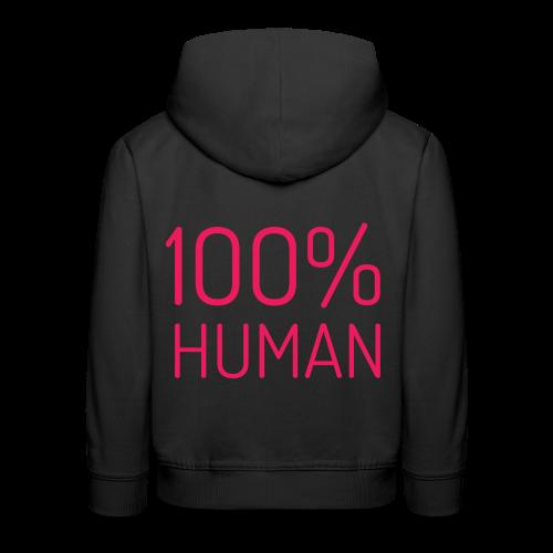 100% Human in roze - Kinderen trui Premium met capuchon
