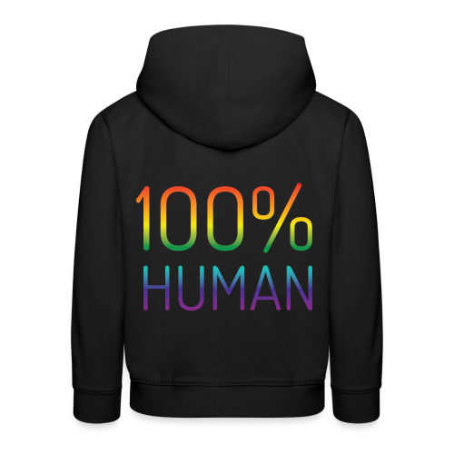 100% Human in regenboog kleuren - Kinderen trui Premium met capuchon