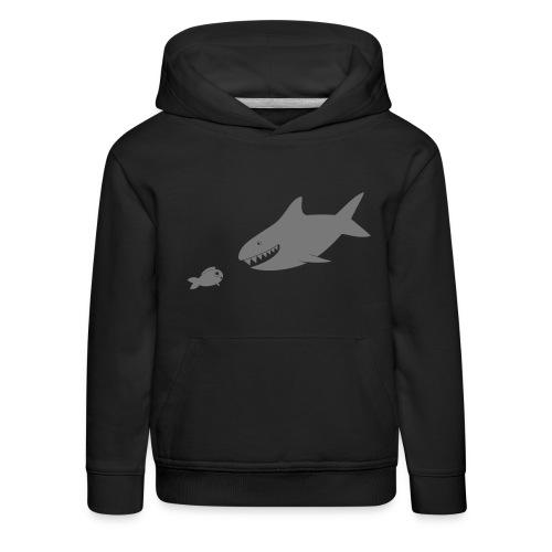 Kleiner Fisch + Hai / dunkler Hintergrund - Kinder Premium Hoodie