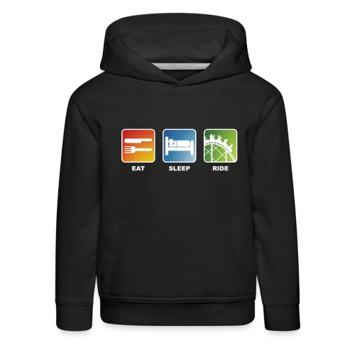 Eat, Sleep, Ride! - T-Shirt Schwarz - Kinder Premium Hoodie
