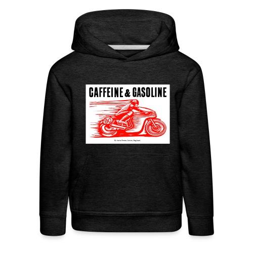Caffeine & Gasoline black text - Kids' Premium Hoodie