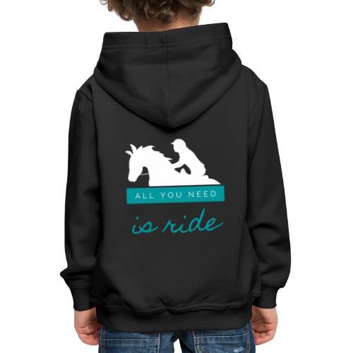 Logo All you need is Ride Bleu Boy - Pull à capuche Premium Enfant
