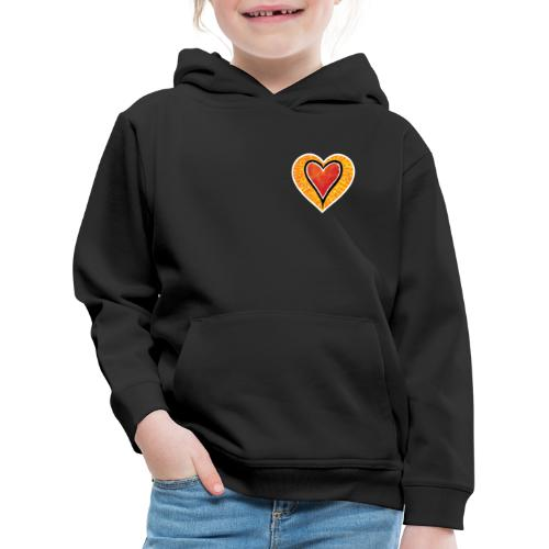 Red heart under Fire - Kids' Premium Hoodie
