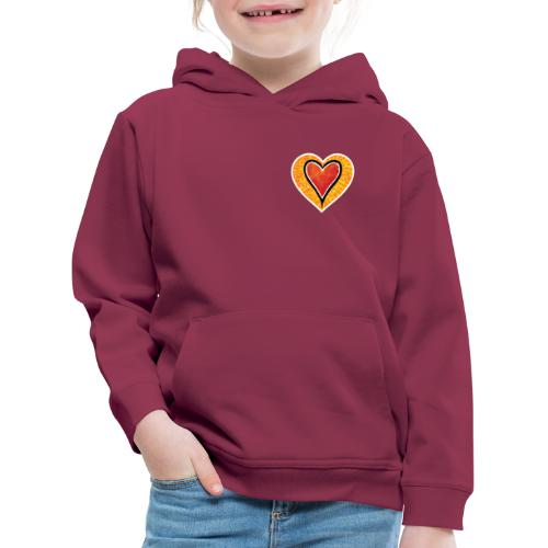 Red heart under Fire - Kids' Premium Hoodie