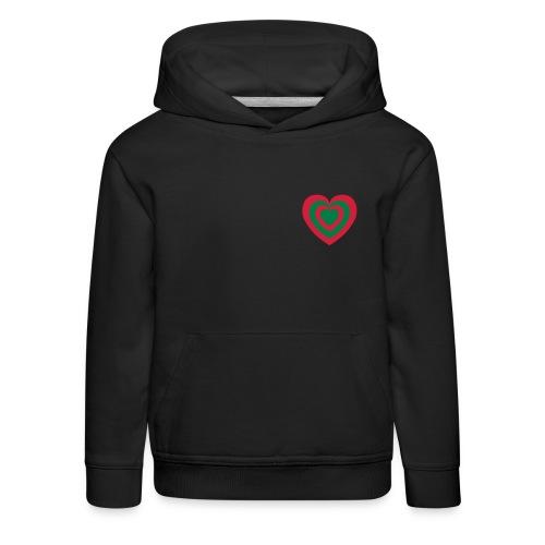 cuore Rosso-Verde - Felpa con cappuccio Premium per bambini