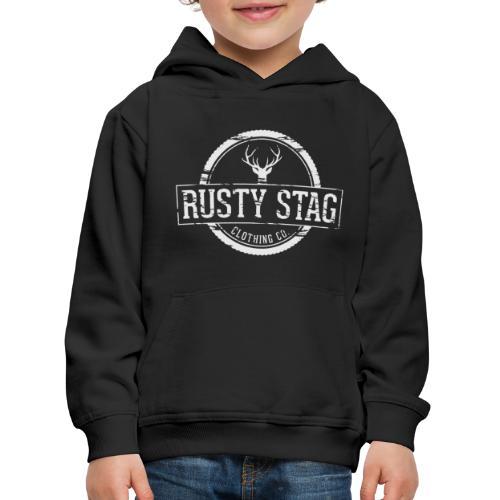 RustyStagBadgeWhite 01 png - Kids' Premium Hoodie