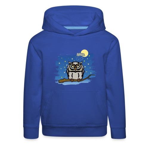 Eule Uhu Nachtschwärmer Vollmond Regenwolke Sterne - Kinder Premium Hoodie