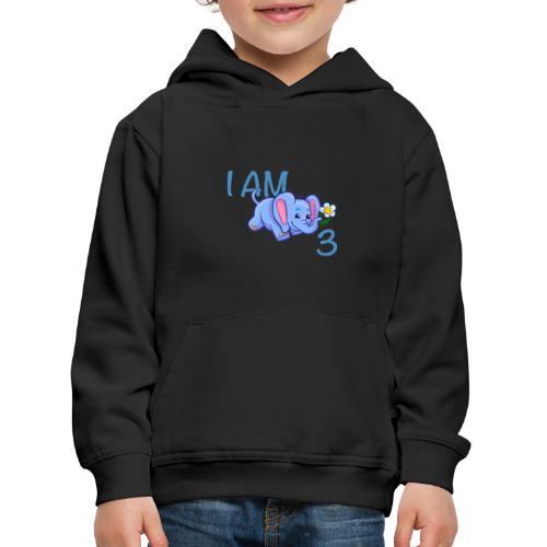 I am 3 - elephant blue - Kids' Premium Hoodie