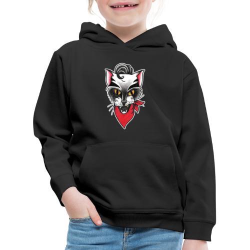 Rockabillycat - Felpa con cappuccio Premium per bambini