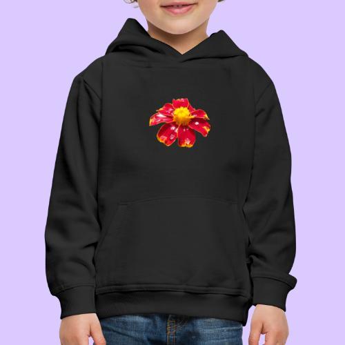 rote Ringelblume mit Regentropfen, Blume, Blüte - Kinder Premium Hoodie