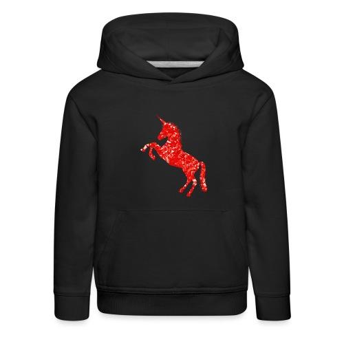 unicorn red - Bluza dziecięca z kapturem Premium