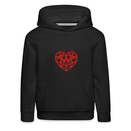 Coeur-segments-rouge - Pull à capuche Premium Enfant