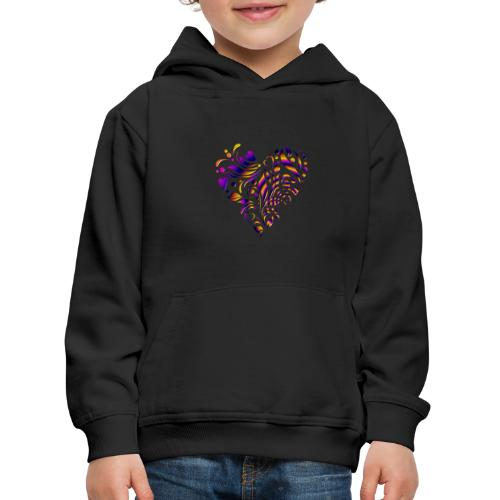 motif coeur multicolor - Pull à capuche Premium Enfant