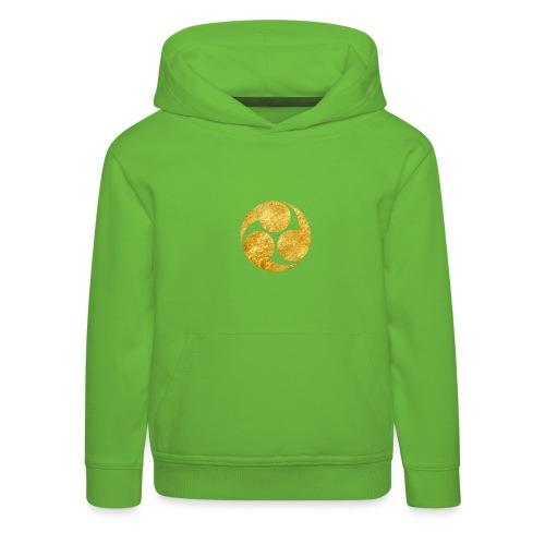 Kobayakawa Mon Japanese clan gold on black - Kids' Premium Hoodie