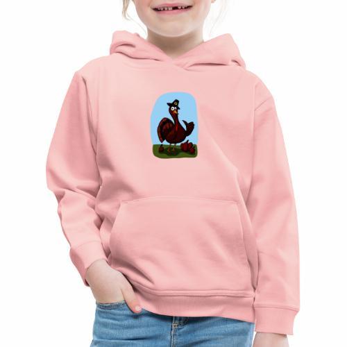 Black Cartoon Thumbs Up Turkey - Kinder Premium Hoodie
