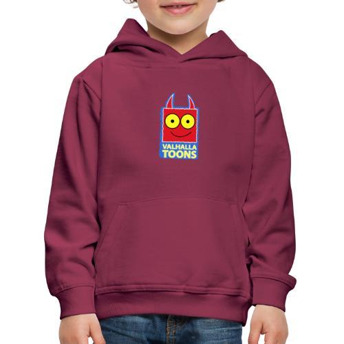 Valhalla Design 1 blue bg white stroke - Kids' Premium Hoodie