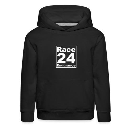 Race24 Logo - White - Kids' Premium Hoodie