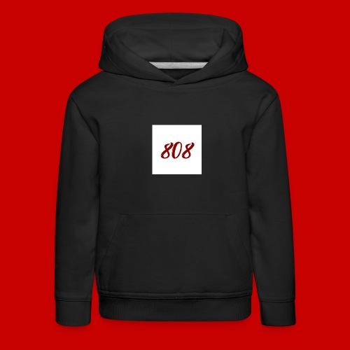 red on white 808 box logo - Kids' Premium Hoodie