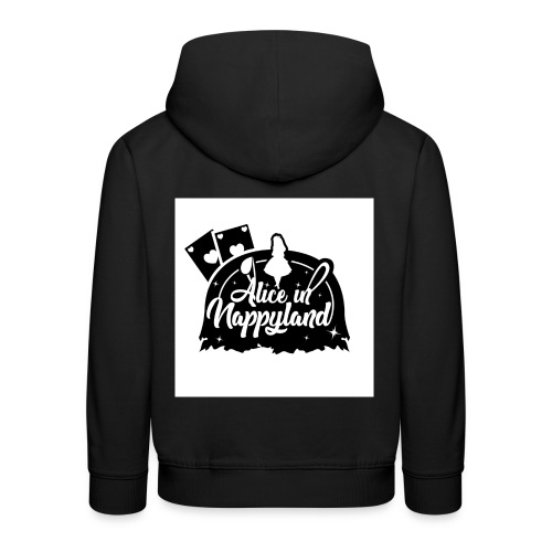 Alice in Nappyland TypographyWhite with background - Kids' Premium Hoodie
