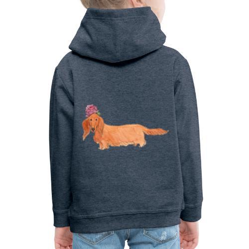dachshund with flower - Premium hættetrøje til børn