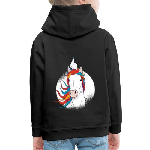 Cartoon Einhorn Mittelfinger Design - Kinder Premium Hoodie