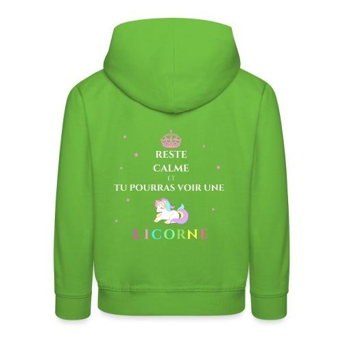 Reste calme licorne - Pull à capuche Premium Enfant