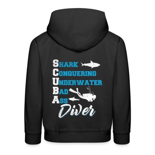 Shark Conquering Underwater Scuba Diver - Kinder Premium Hoodie