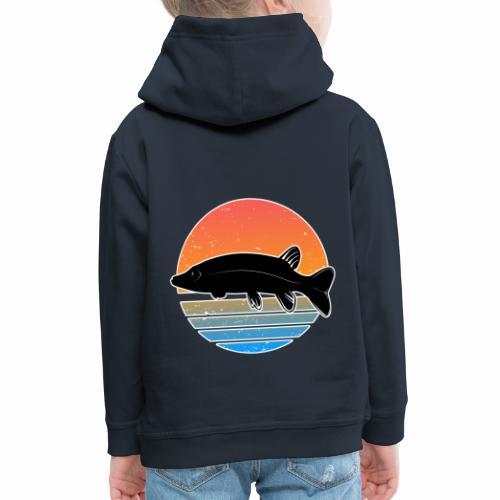 Retro Hecht Angeln Fisch Wurm Raubfisch Shirt - Kinder Premium Hoodie