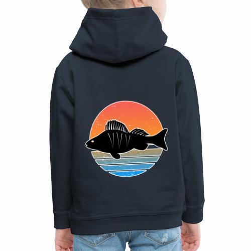 Retro Barsch Angeln Fisch Wurm Raubfisch Shirt - Kinder Premium Hoodie