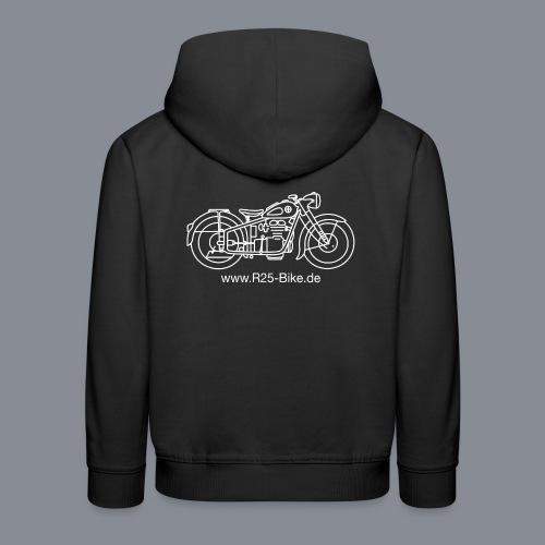 Motorrad_CS2_weiss + URL - Kinder Premium Hoodie
